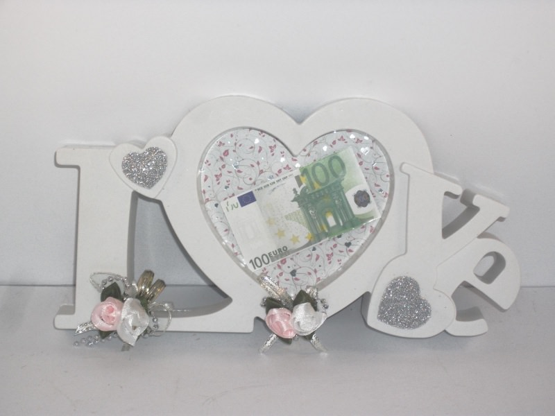 Anlasse Geldgeschenk Zur Hochzeit Bilderrahmen Love Weiss Rosa