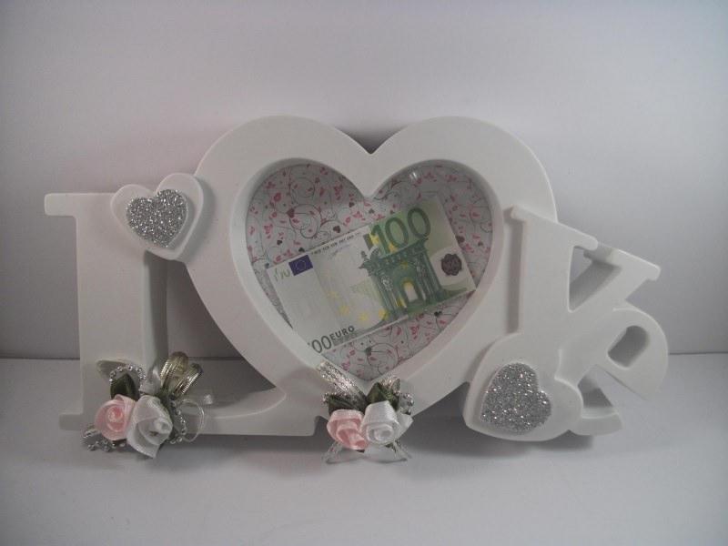 Kleinesbild - Geldgeschenk zur Hochzeit, Bilderrahmen LOVE, weiß-rosa