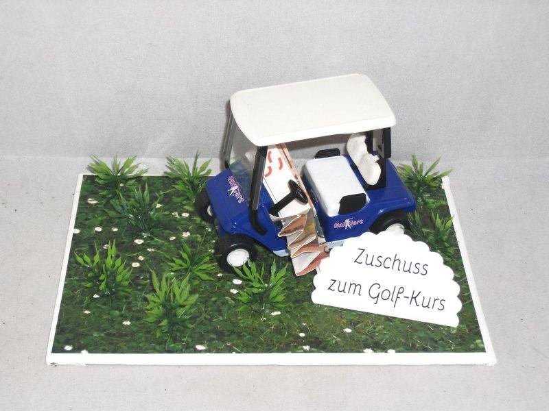 - Geldgeschenk für einen Golfkurs, Geburtstag, Golf, Golfmobil, blau - Geldgeschenk für einen Golfkurs, Geburtstag, Golf, Golfmobil, blau