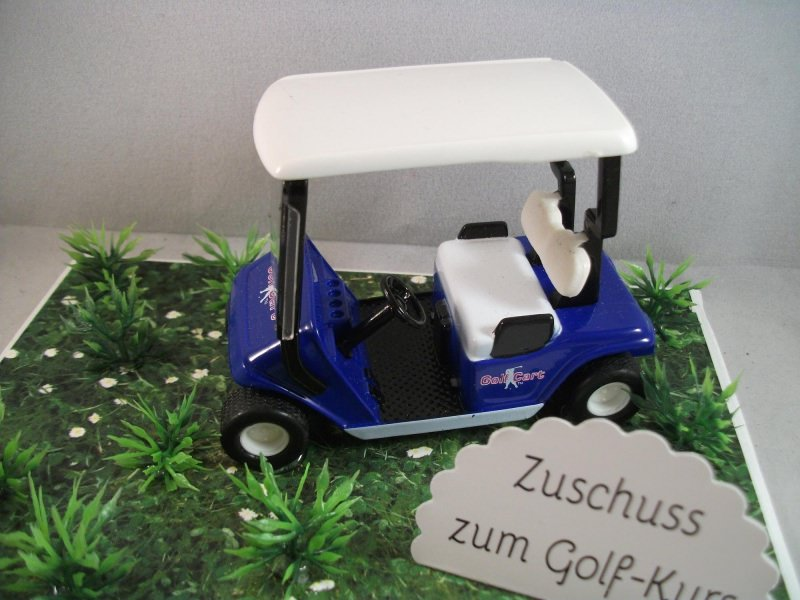 Kleinesbild - Geldgeschenk für einen Golfkurs, Geburtstag, Golf, Golfmobil, blau