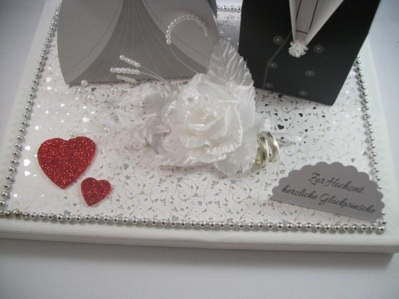 Kleinesbild - Geldgeschenk, Hochzeit, Vermählung, Geschenkschachtel, ganz edel in weiß-silber-rot