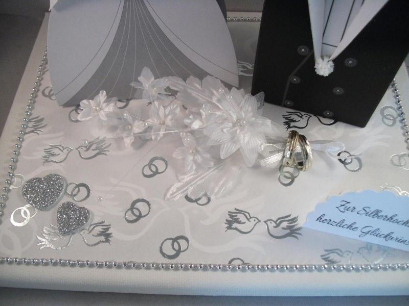 Kleinesbild - Geldgeschenk, Silberhochzeit, Geschenkschachtel, ganz edel in weiß-silber