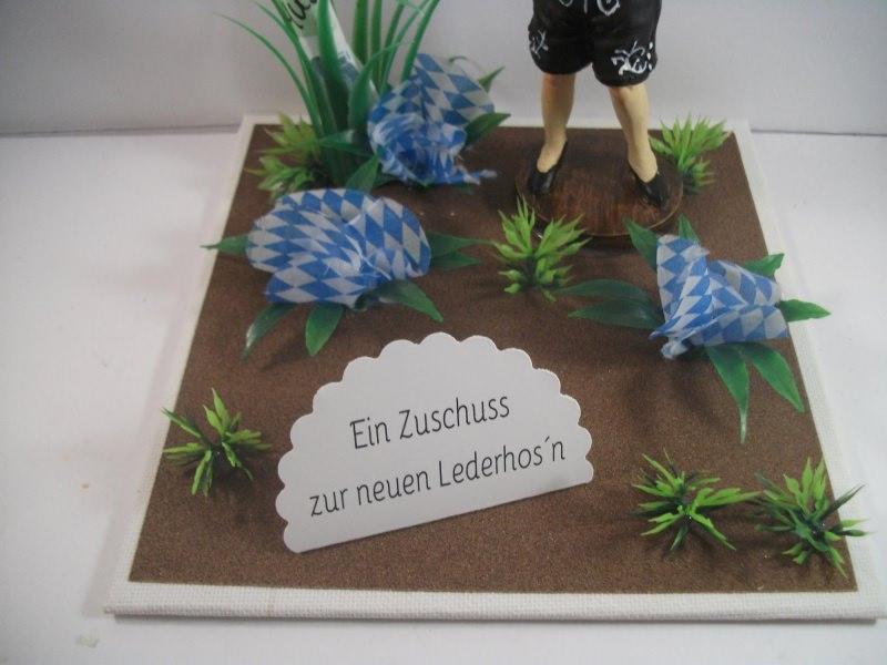 Kleinesbild - Geldgeschenk Tracht, Lederhose, Geburtstag, Landhaus, Wiesn, Bayern, bayrisch, Oktoberfest, zünftig