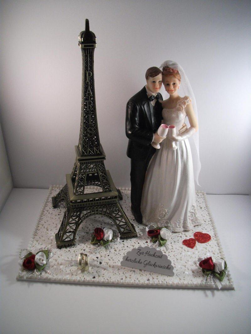 Kleinesbild - Geldgeschenk Hochzeit, Paris, Eiffelturm, groß, Brautpaar mit Sektgläsern, Frankreich, Flitterwochen