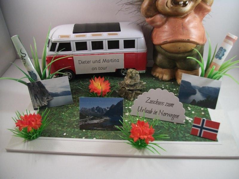 Kleinesbild - Geldgeschenk Geburtstag, Urlaub, Wohnmobil, Norwegen, Troll, Inukshuk, Wohnwagen, Camping, Skandinavien, Schweden, Finnland