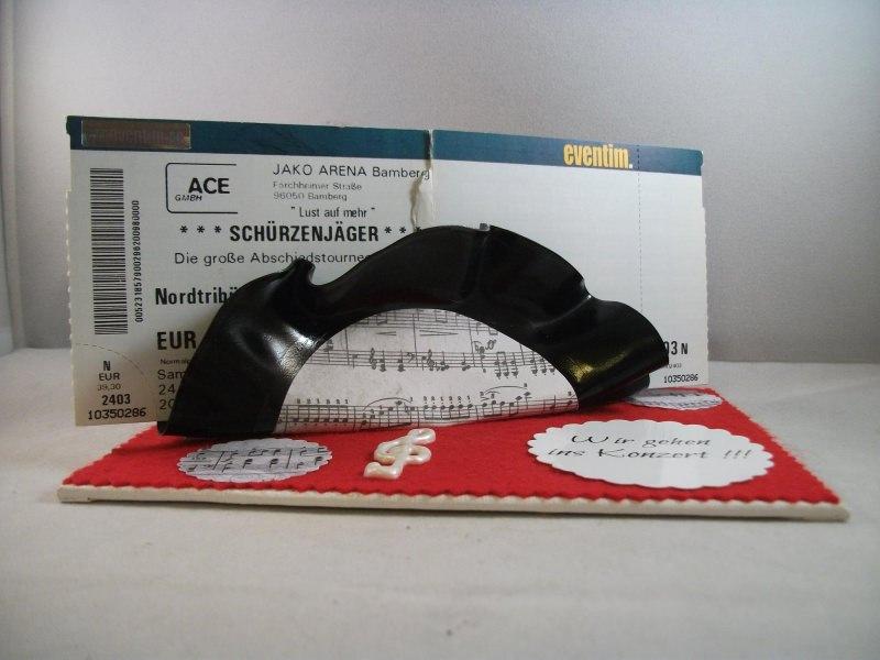 Kleinesbild - Verpackung für Konzertkarten, Geburtstag, alte Schallplatte verbogen, Vinyl-Single, jede ein Unikat