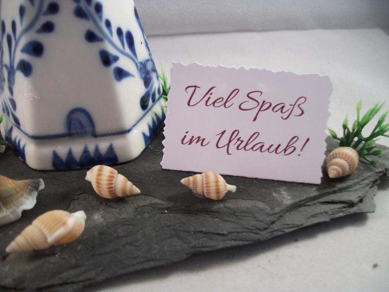 Kleinesbild - Geldgeschenk Urlaub, Geburtstag, Windmühle, Strand, Muscheln, Schieferplatte, Ostsee, Nordsee