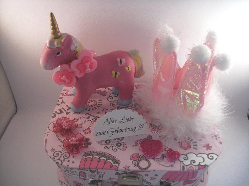 Kleinesbild - Geldgeschenk, Geschenkkoffer, Mädchen, Girl, rosa, Pferd, Schulanfang, Geburtstag