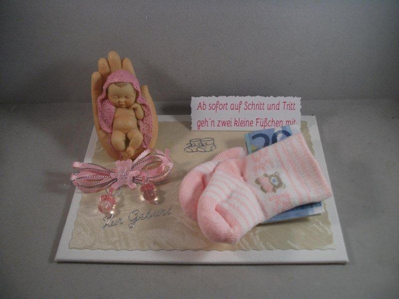 Kleinesbild - Geldgeschenk Geburt, Taufe, Mädchen, Baby, rosa , Erstlingssöckchen, Söckchen