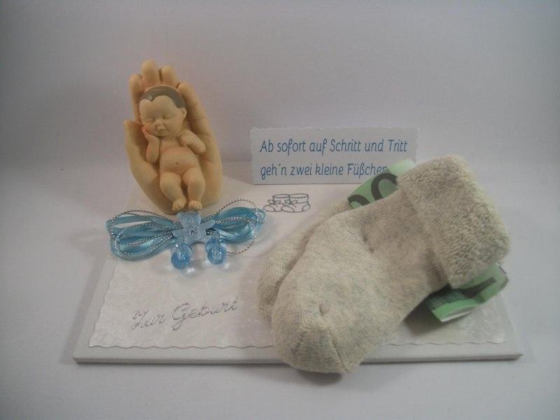 Kleinesbild - Geldgeschenk zur Geburt oder Taufe, Junge, Erstlingssöckchen, Söckchen