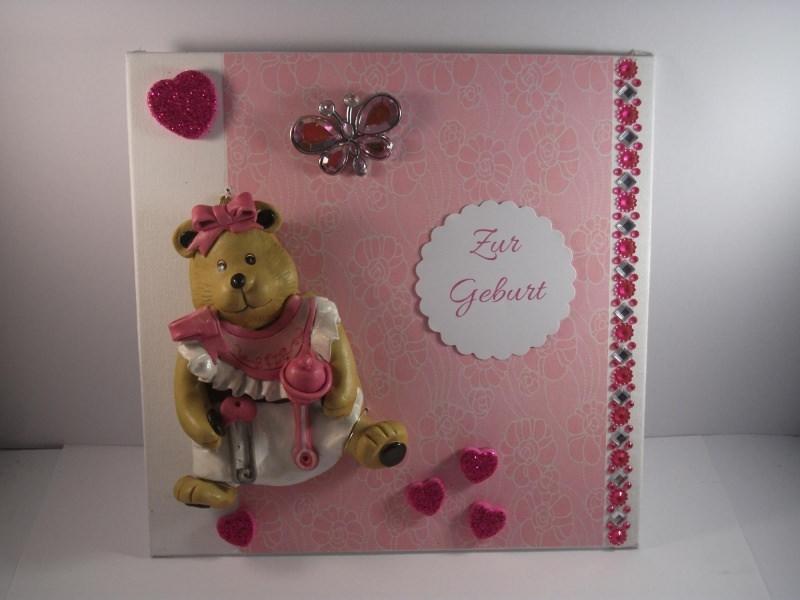 Kleinesbild - Geldgeschenk, Geburt, Taufe, Mädchen, Baby, Bär, Keramik, Wandbild
