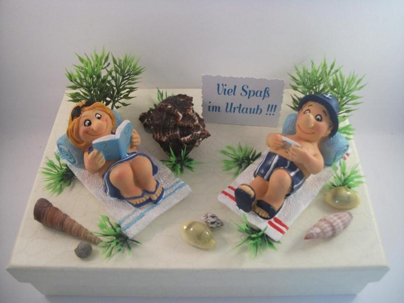 Kleinesbild - Geldgeschenk, Urlaub, Geburtstag, Schachtel, Geschenkschachtel, lustige Urlauber, Ferien, Strand