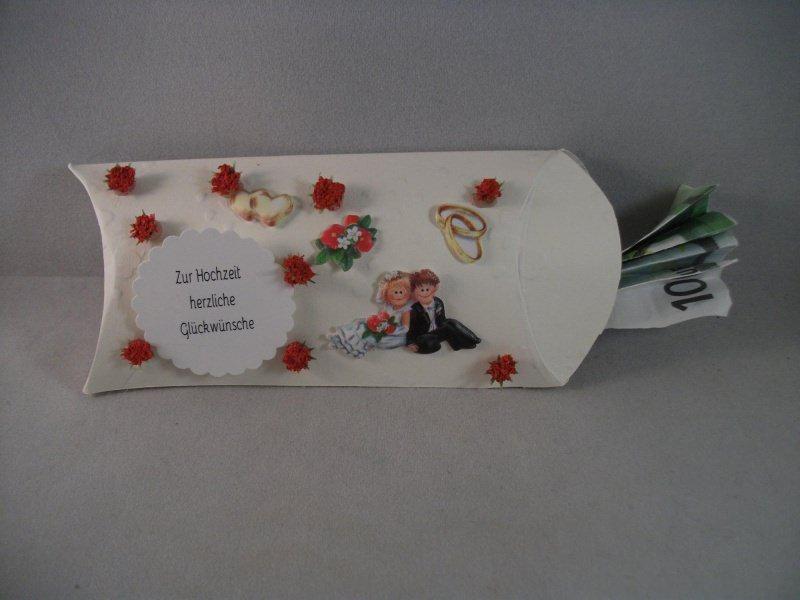 Kleinesbild - Geldgeschenk, Kissenschachtel, zur Hochzeit, kleine Geldverpackung