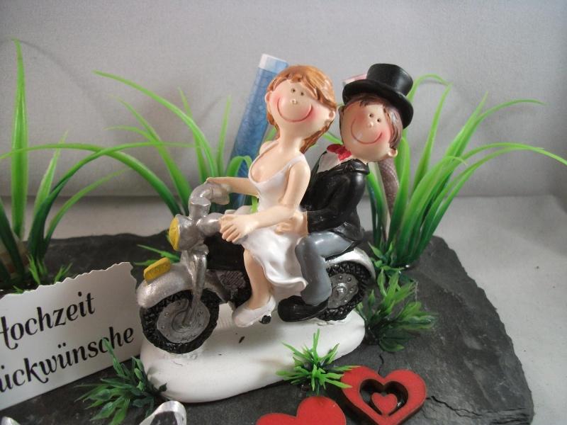 Kleinesbild - Geldgeschenk zur Biker-Hochzeit, Motorrad, Moped, auf Schieferplatte