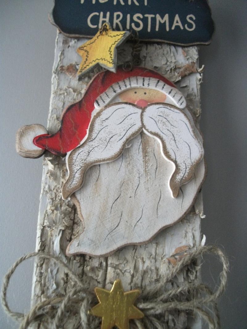 Kleinesbild - kleine weihnachtliche Wanddekoration, Türdekoration, Holz-Deko auf Rinde