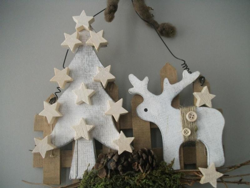 Kleinesbild -  weihnachtliches Türschild, Willkommen, aus Holz mit Elch, rustikal, Geldgeschenk