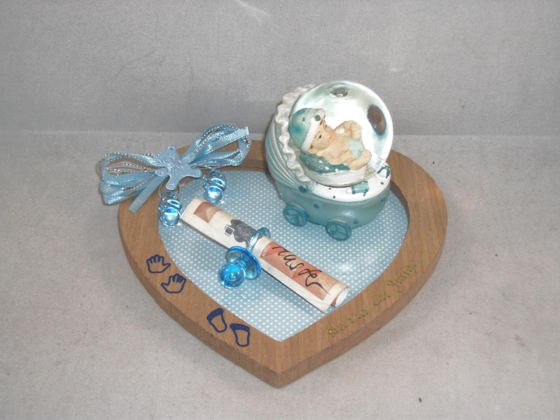 - Geldgeschenk zur Geburt oder Taufe , Junge, Herz-Unterlage mit Schneekugel - Geldgeschenk zur Geburt oder Taufe , Junge, Herz-Unterlage mit Schneekugel