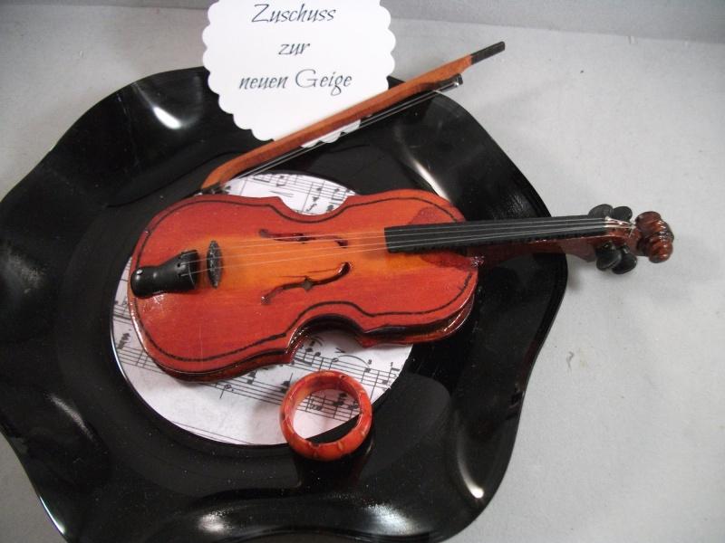 Kleinesbild - Geldgeschenk, Geburtstag, verbogene Schallplatte, Musik, Geige, Vinyl