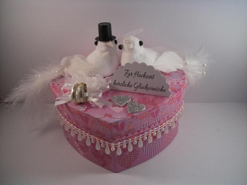 Kleinesbild - Geldgeschenk Hochzeit, Geschenkschachtel, Herzschachtel, romantisch, Geschenkbox , mit Tauben