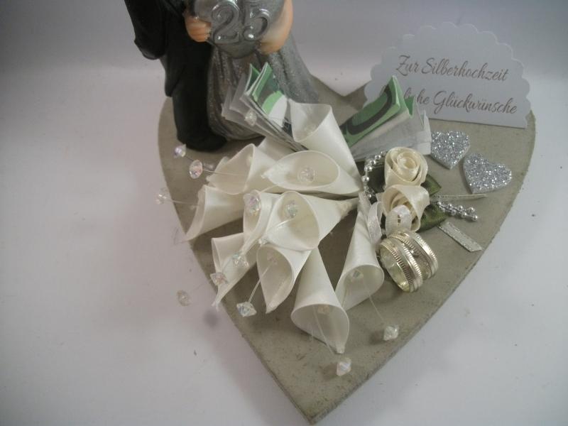 Kleinesbild - Geldgeschenk, Silberhochzeit, 25 Jahre Ehe, Silberne Hochzeit, mit lustiger Figur