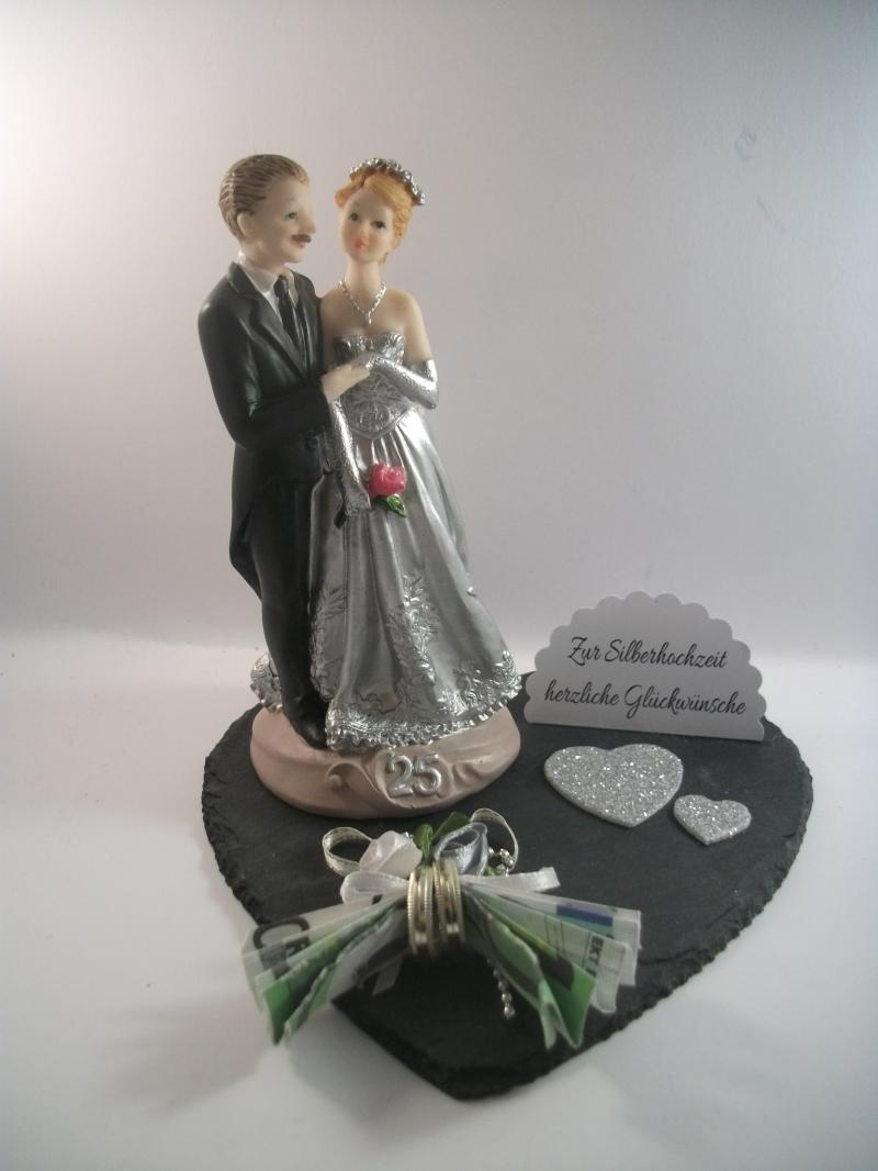 Kleinesbild - Geldgeschenk, Silberhochzeit, 25 Jahre Ehe, Silberne Hochzeit, auf Schiefer-Herz