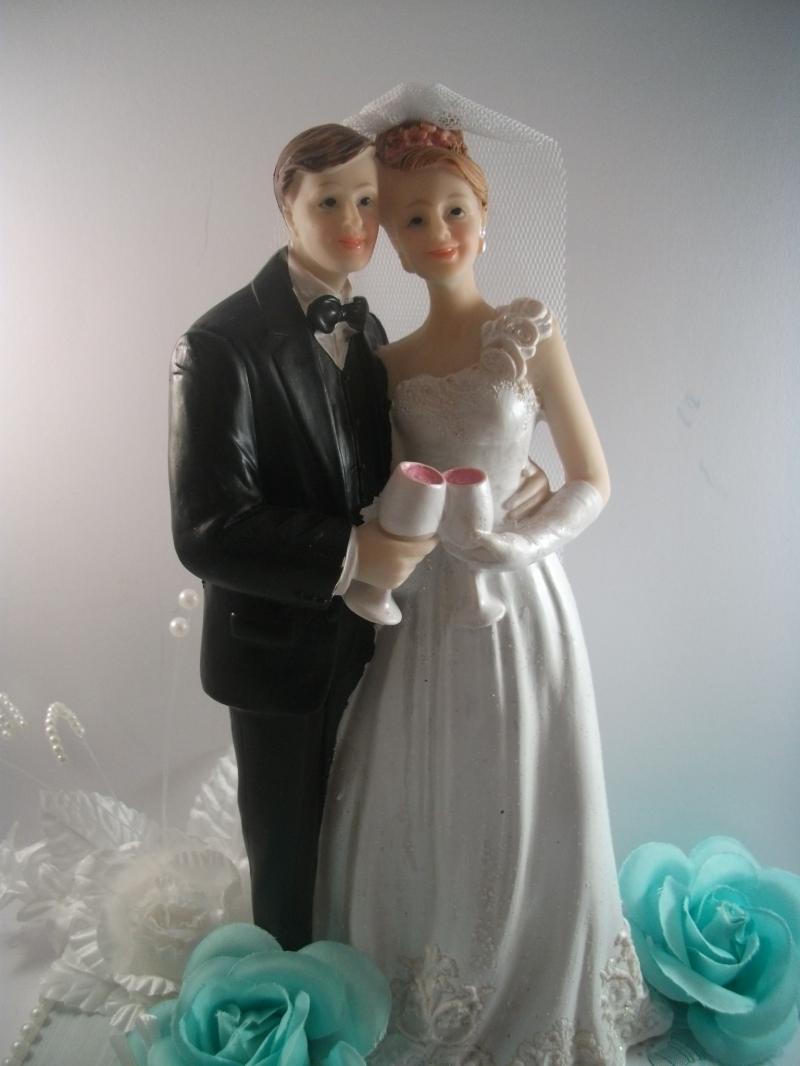 Kleinesbild - Geldgeschenk, Hochzeit, Brautpaar, Vermählung, Ehe, Paar mit Sektgläsern, Umtrunk, türkis, mint