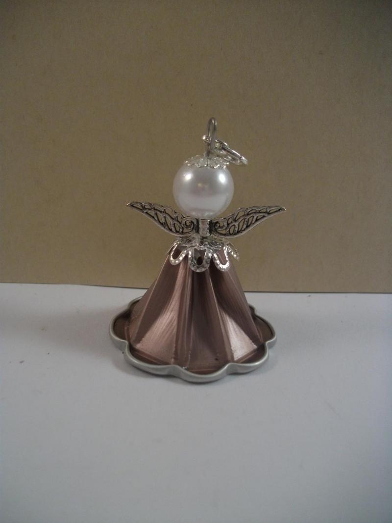 Kleinesbild - Geschenkanhänger, Christbaumanhänger, Engel aus Kaffeekapsel, Engelchen, Nespresso Engel, rosé - silber, Schutzengel