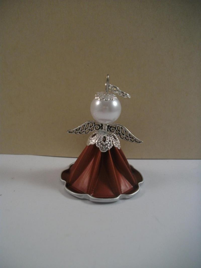 Kleinesbild - Geschenkanhänger, Christbaumanhänger, Engel aus Kaffeekapsel, Engelchen, Nespresso Engel, kupferrot - silber, Schutzengel