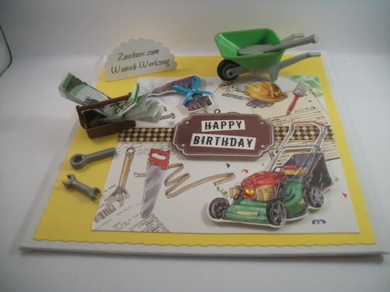 Kleinesbild - Geldgeschenk, Geburtstag, Mann, Männer, Werkzeug, Reparatur, Hausbau, Renovierung, Garten, Rasenmäher