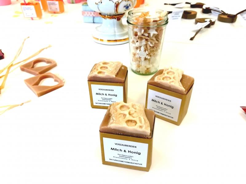 Kleinesbild - handgefertigte Duschseife mit Imkerhonig, Bienenwachs und Milch, Parfumfrei Milch & Honig
