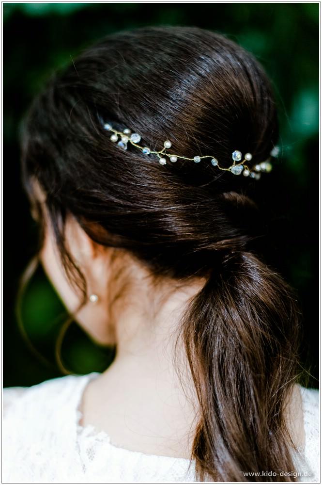 Anlasse Haarschmuck Hochzeit Braut Ranke Diadem Gold Vintage