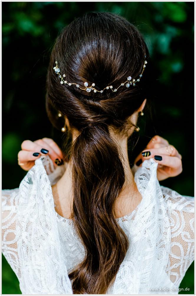 Kleinesbild - Haarschmuck Hochzeit Braut Ranke Diadem Gold Vintage
