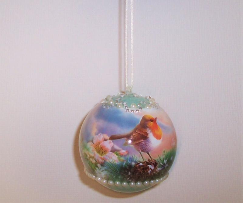 Kleinesbild - Fenster Dekoration Kugel Acryl mit Vögel zum Aufhängen Geschenk