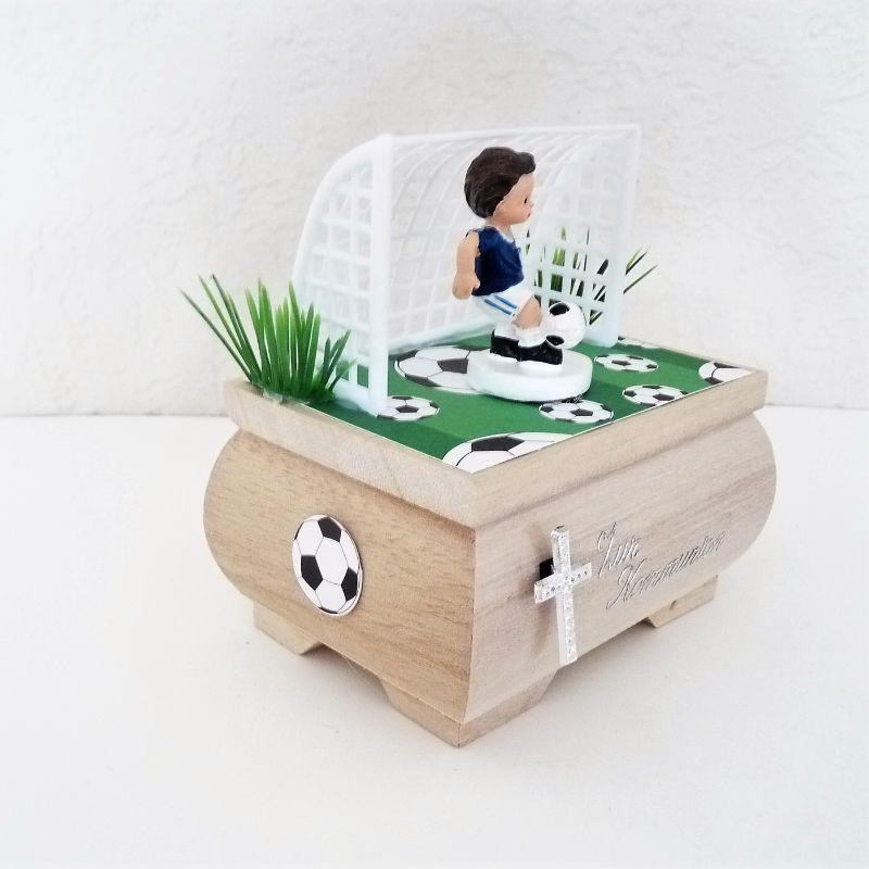 Kleinesbild - Geldgeschenk Fußball Kommunion ,Konfirmation Holzkästchen Geschenkbox
