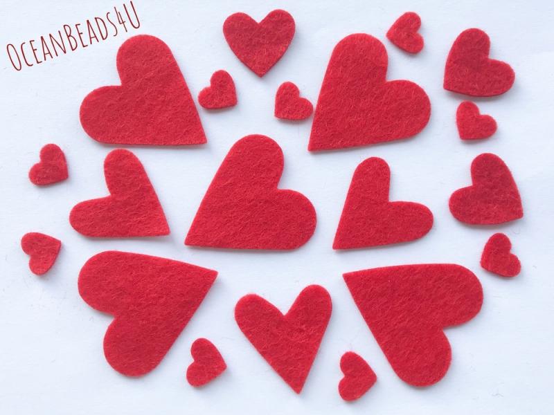 - 50 rote Filzherzen, Herzen Konfetti, Herzen Applikation - 50 rote Filzherzen, Herzen Konfetti, Herzen Applikation