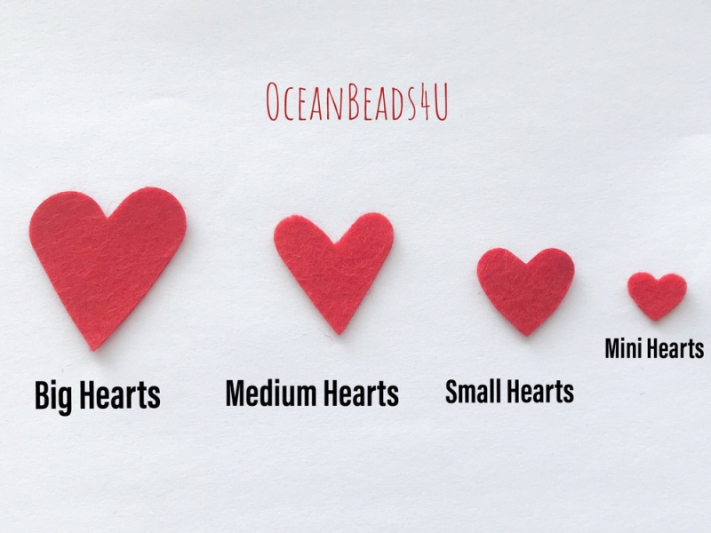 Kleinesbild - 50 rote Filzherzen, Herzen Konfetti, Herzen Applikation