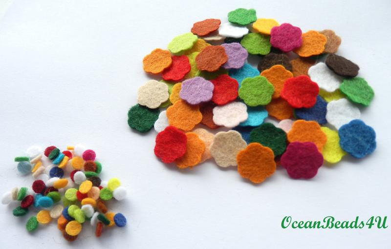 - 100 Mini Mix Filz Blumenpackung B, Blumen filz Form, Blumen applikation  - 100 Mini Mix Filz Blumenpackung B, Blumen filz Form, Blumen applikation