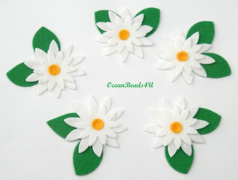 - 5 Handgemachtes Filz weiße Blumen Applikation , Blumen filz Form, Blumen applikation  - 5 Handgemachtes Filz weiße Blumen Applikation , Blumen filz Form, Blumen applikation