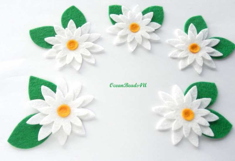 Kleinesbild - 5 Handgemachtes Filz weiße Blumen Applikation , Blumen filz Form, Blumen applikation