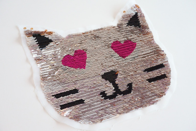 Kleinesbild - Wendepailletten Patches / Aufnäher Katzengesicht