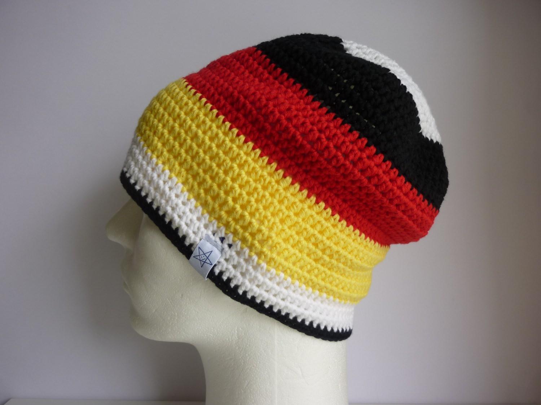 - Häkelmütze Deutschland schwarz rot gelb - Häkelmütze Deutschland schwarz rot gelb