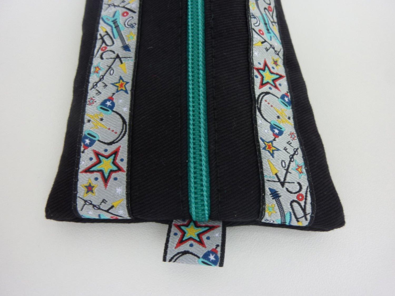 Kleinesbild - Stiftemäppchen Federmäppchen ROCK YOU in schwarz und smaragdgrün