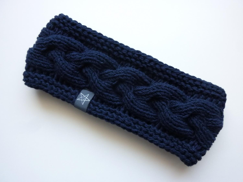 - Stirnband dunkelblau mit Zopfmuster handgestrickt - Stirnband dunkelblau mit Zopfmuster handgestrickt