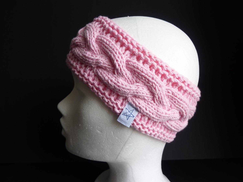 Kleinesbild - Stirnband rosa mit Zopfmuster handgestrickt
