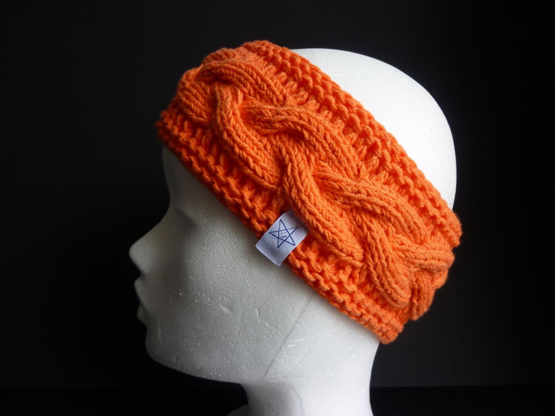 Kleinesbild - Stirnband orange mit Zopfmuster handgestrickt