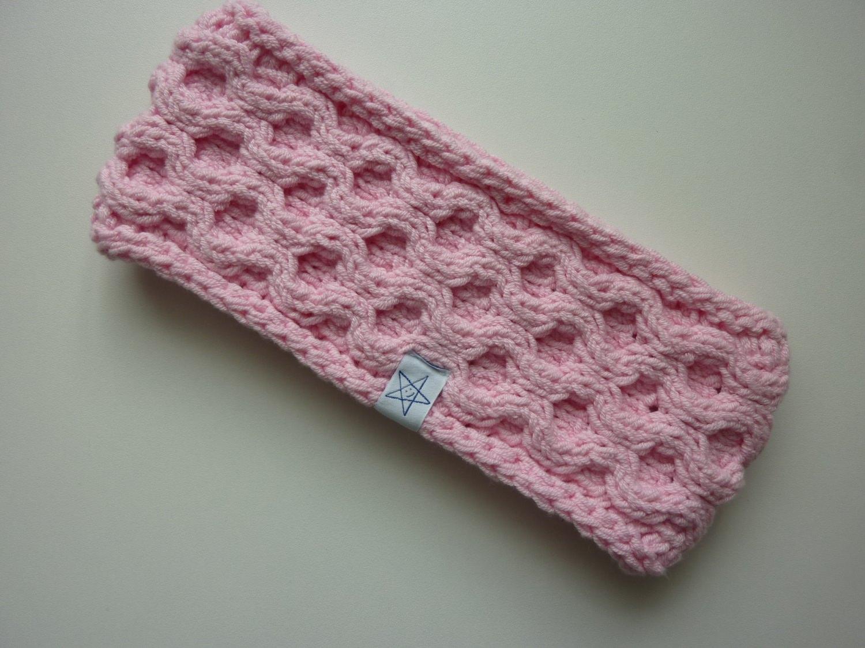 - Stirnband rosa mit Wabenmuster handgestrickt - Stirnband rosa mit Wabenmuster handgestrickt