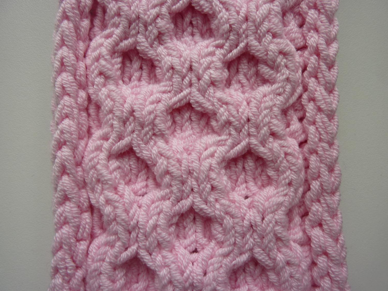 Kleinesbild - Stirnband rosa mit Wabenmuster handgestrickt