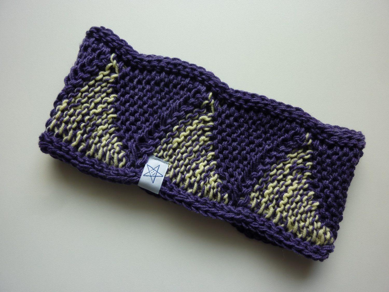 - Stirnband violett hellgelb Schurwolle - Stirnband violett hellgelb Schurwolle