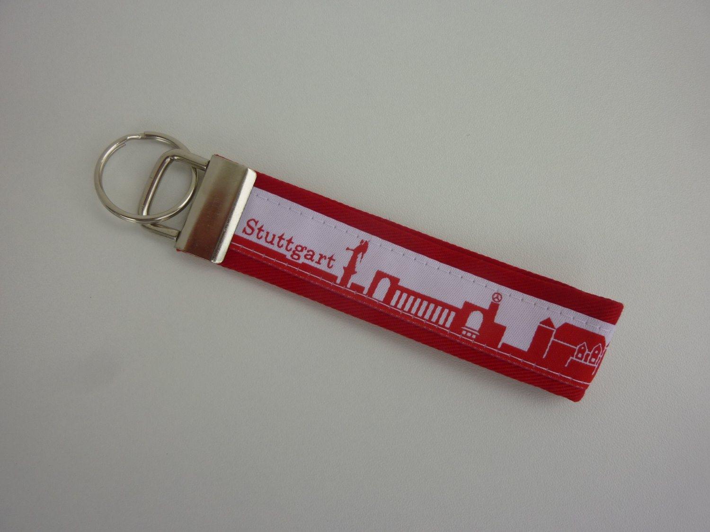 - Schlüsselanhänger STUTTGART in rot weiß - Schlüsselanhänger STUTTGART in rot weiß