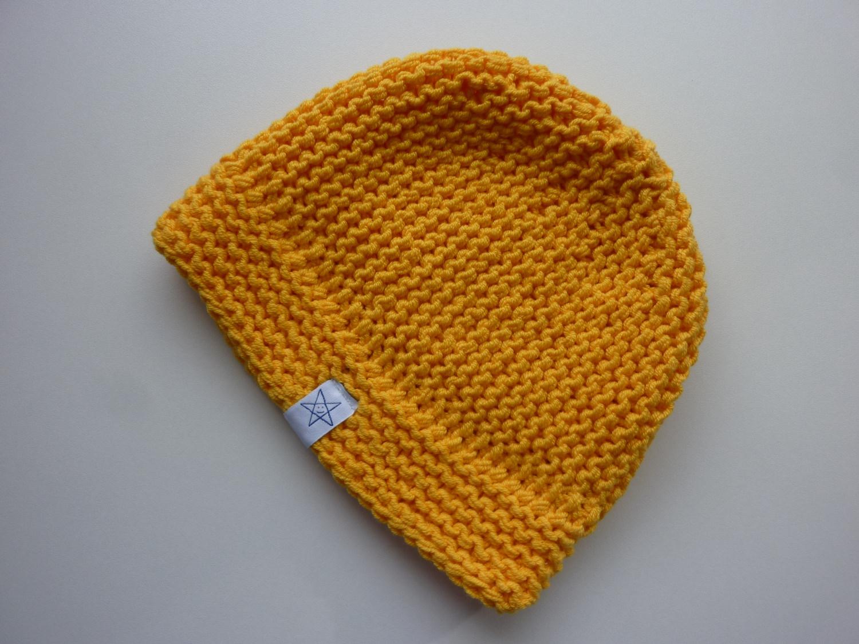 Kleinesbild - Babymütze Gr. 41 - 46 Gelb aus Baumwolle handgestrickt